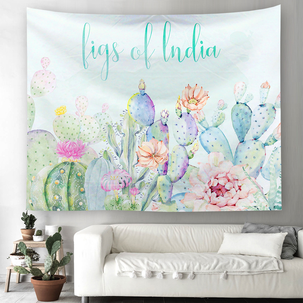 Europe Ins Tapestry Wall Hanging Hippie Cactus Unicorn Printing Polyester Cloth Home  Decoration Bedspread Yoga Mat