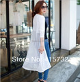 Free Shipping 2017 XS-10XL Fashion Plus Size Gauze Modal Patchwork White And Black Perspective Long Sleeve Cardigan Outerwear