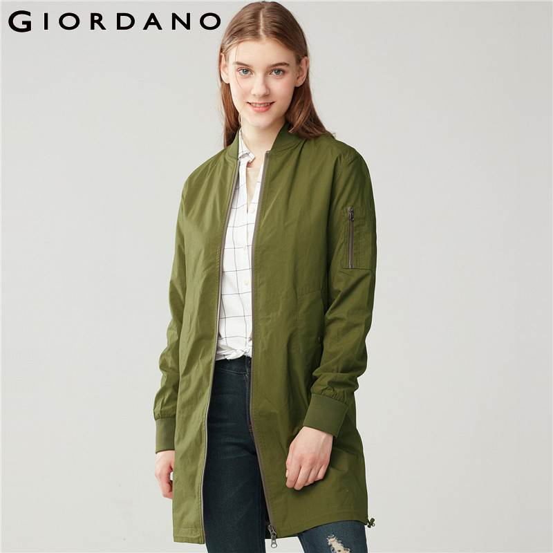 Giordano Women Bomber Jacket Solid Long Jacket Stand Collar Long Sleeves Outer Casual Pockets Female Tops