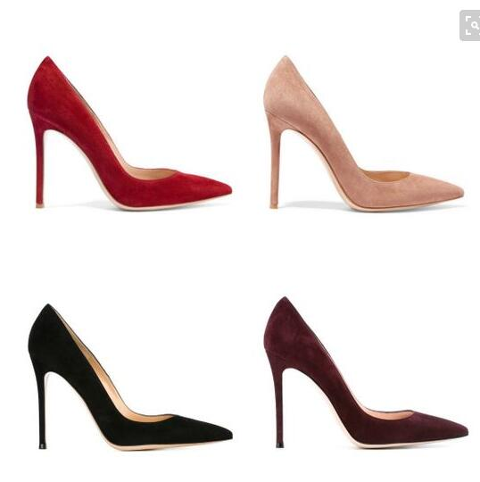 ФОТО Newest  Red Black Suede Leather Stiletto High Heel Pumps Pointed Toe Fall-Winter Party Dress shoes woman 10cm Bride Dress sh