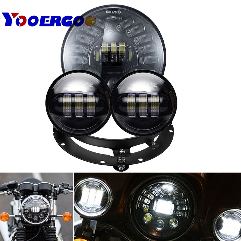 7 Inch Adaptive LED Headlight with Passing Lamps + 1 Pair 4 1/2 LED Passing Light Halo Fog Lamps Auxiliary Lights