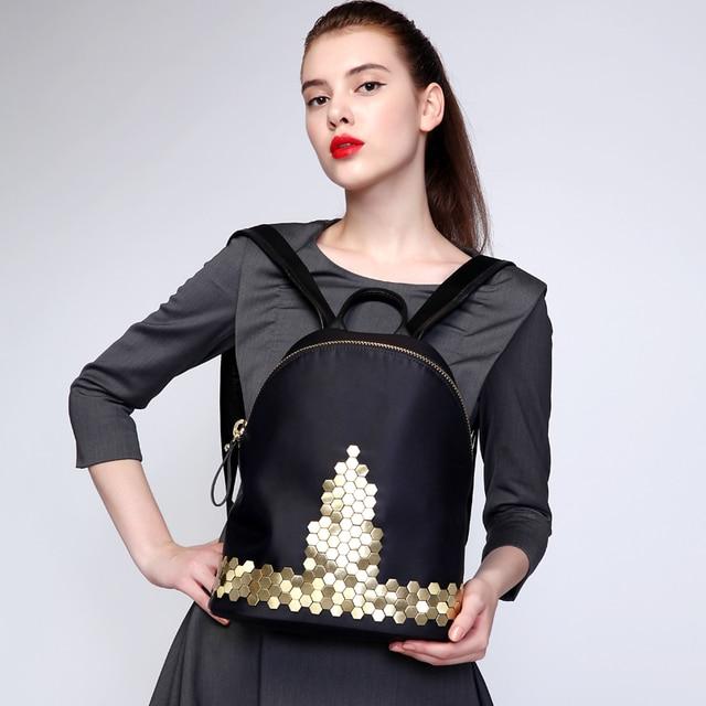 ГОРЯЧАЯ рюкзак женщины кожа рюкзак улучшенный Нейлон водонепроницаемый рюкзак специально разработанный рюкзаки элегантный 2017 леди #1083