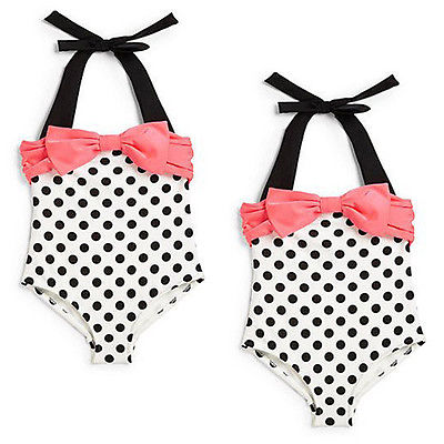 2016 New Baby Toddler Girls One Piece Swimwear Bowknot Polka Dots Swimable Bikini Kids Holiday Swimwear Swimsuit 2-7Y 2016 hot selling baby kids girls one piece sleeveless heart dots bib playsuit jumpsuit t shirt pants outfit clothes 2 7y