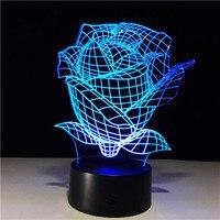 3D LLEVÓ Luces de La Noche de san valentín regalo del día Se Levantó Flores Luna lámpara de 7 Colores Decoración Del Hogar USB Potencia de LA Lámpara LED 2018 moda