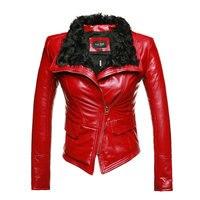 New Luxury Autumen Inverno Genuino Delle Donne Giacche di Pelle Pelliccia Della Signora Pelle di Pecora Moto Rosso Nero Tuta Sportiva del Cappotto di Vendita Calda