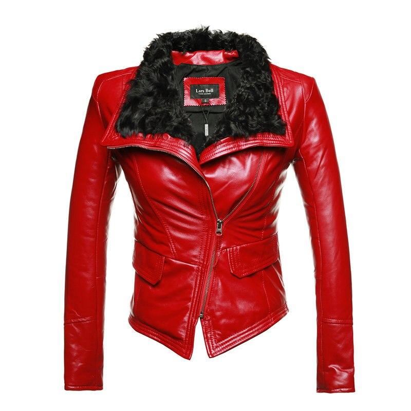 New Luxury Autumen Winter Women Genuine Fur Leather Jackets Lady Sheepskin Motorcycle Red Black Coat Outerwear Hot Sale