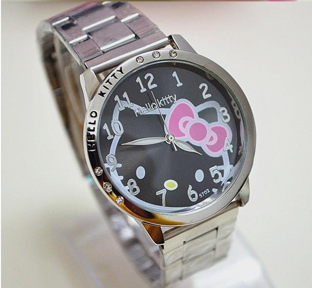 HelloKitty Clock Women Dress Watch Hello Kitty Cartoon Watches Stainless Steel W