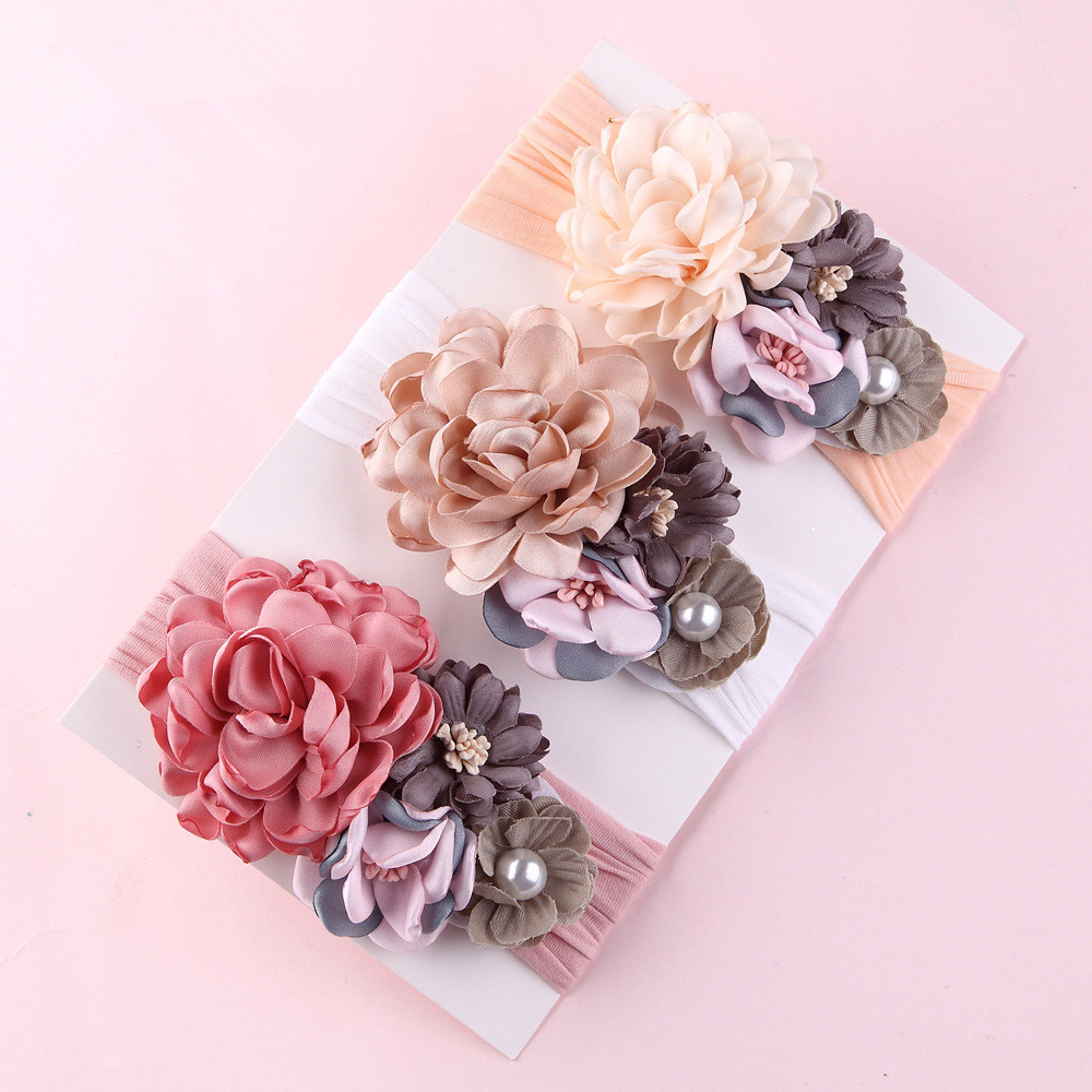 Artificia Flowers Soft Nylon Headband For Girls Kids Solid Fabric Flower Crown Hairbands With Wide Summer Hair Accessories