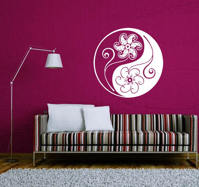 Simple Mandala Flower Patterned Wall Sticker In Ying Yang Designed Pattern  Art Wall Mural Decal Home