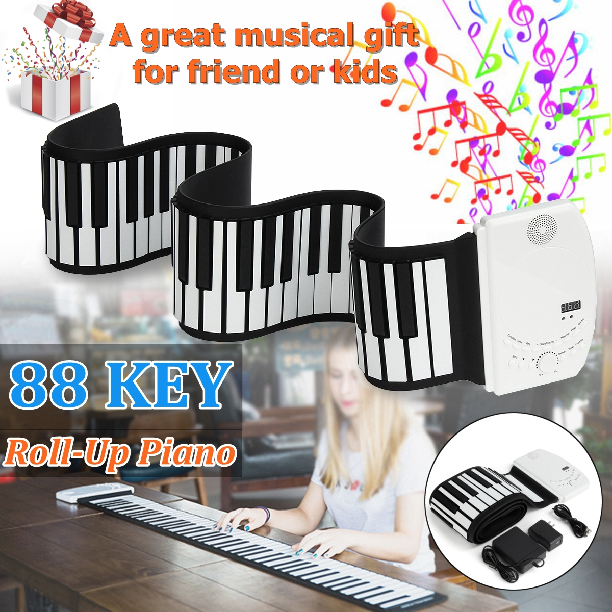 SENRHY 88 Teclas de Piano Elétrico Portátil Digital Roll up Piano Teclado Dobrável Flexível Para Instrumentos Musicais Presentes Do Amante