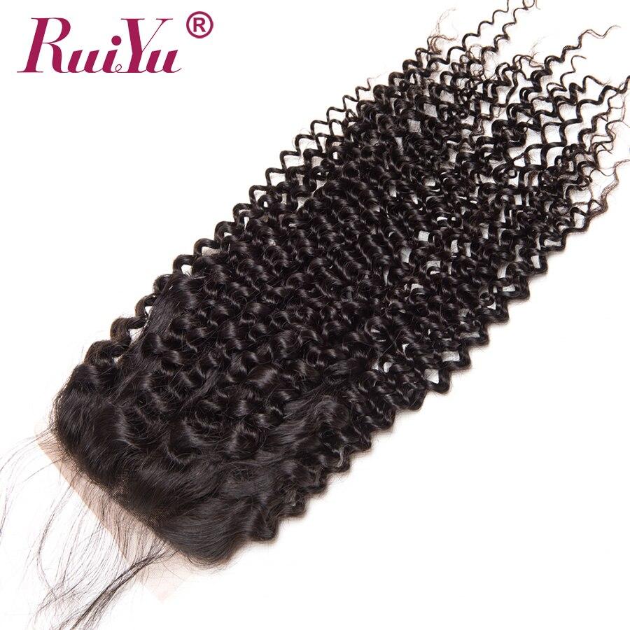 RUIYU Brazil Afro Kinky Curly Lace Closure 100% Penutupan Rambut - Rambut manusia (untuk hitam) - Foto 3