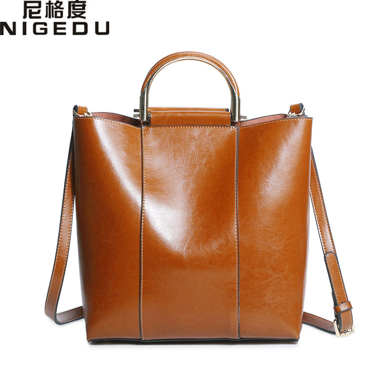 NIGEDU Brand Genuine Leather Bag Women Handbag Soft Oil Wax Leather Women's Shoulder Bag Large Capacity Casual Totes bolsa luxury genuine leather bag fashion brand designer women handbag cowhide leather shoulder composite bag casual totes