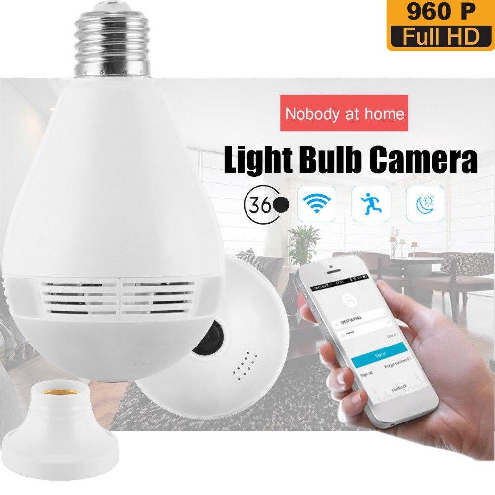 360 degrés E27 RGB Smart WiFi lumière LED ampoule de caméra avec capteur de mouvement V380 960 P enregistreur IP sans fil pour la sécurité à la maison - 4