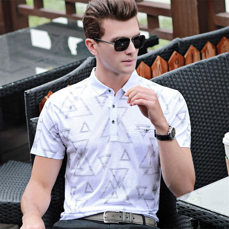 50pcs Men Casual Lapel Collar Tops&Tees High-end Quality Cotton Short Sleeve Shirt Summer Big Yards Print Classic   Polos   Shirts