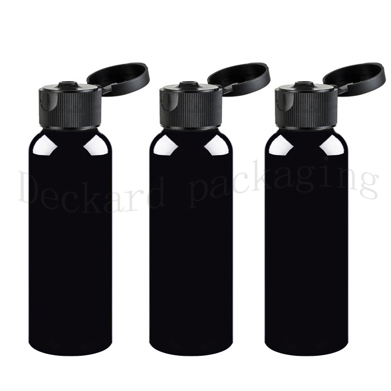 50pcs 200ml black plastic bottle flip top cap 200cc cosmetics packaging containers with screw lids Container
