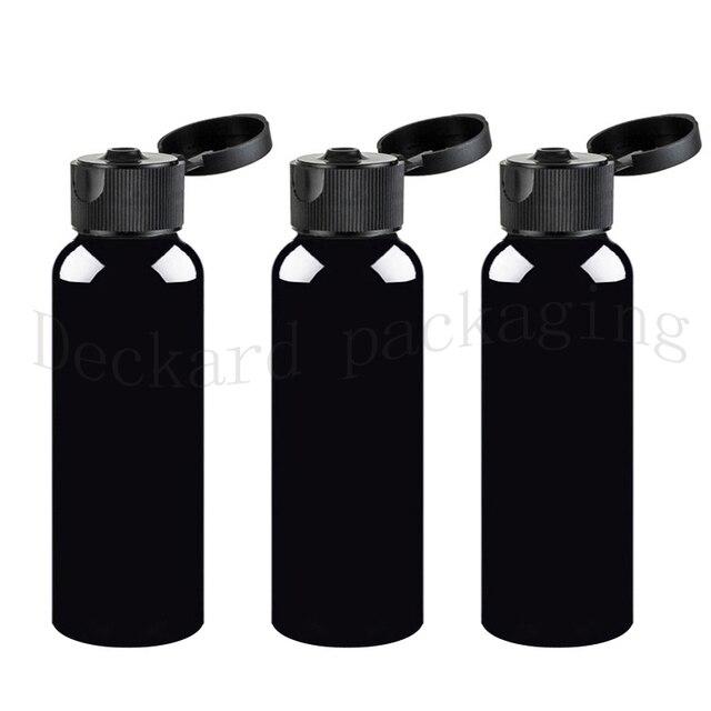 50 قطعة 200 مللي زجاجة من البلاستيك الأسود غطاء علوي قلّاب ، عبوات تغليف مستحضرات التجميل 200cc مع أغطية البرغي ، حاوية لشامبو اللوشن