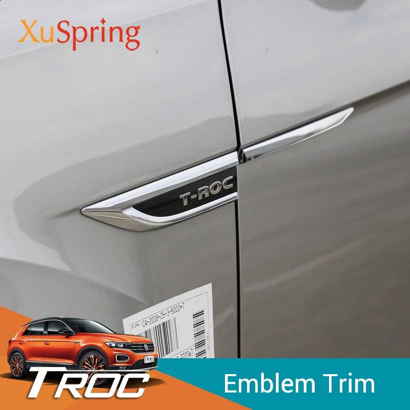 Car Side Wing Fender Emblem Badge with 4 Motion Sticker Trim Original Car Styling 4Pcs/Set For VW T Roc 2017 2018 2019|Chromium Styling| |  - title=