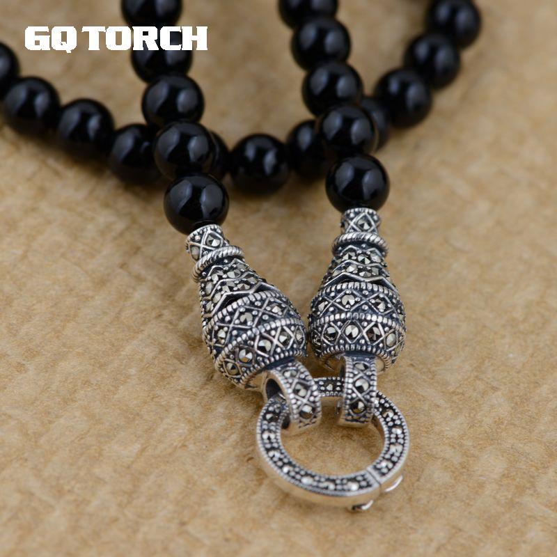 GQTORCH 925 Sterling Silver DIY Long Necklace Black Onyx Beads 6mm Vintage Sweater Chain With Openable Circles For Women And Men vintage beads feather leaf sweater chain and a pair of earrings for women