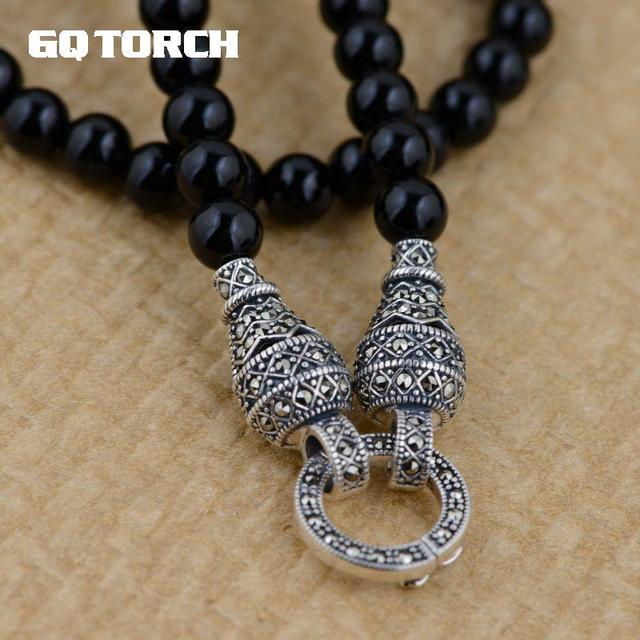 GQTORCH 925 Sterling Silver DIY Long Necklace Black Onyx Beads 6mm Vintage Sweater Chain With Openable Circles For Women And Men