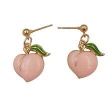 hot deal buy earrings for women fashion new peach stud earrings contracted joker cute girl peach female stud earrings fine jewelry diy