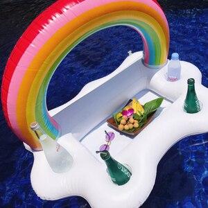 Летняя Вечеринка ведро Радуга облако подстаканник надувной бассейн поплавок Пивной Напиток кулер Настольный бар поднос пляжное кольцо для плавания бассейн игрушки