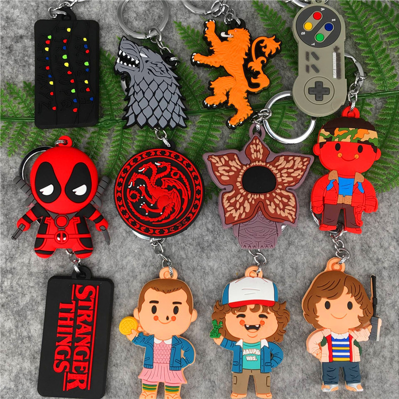 Anime Figure Toy Stranger Things Eleven Dustin Mike Wheeler Demogorgon PVC Door Keychain Toys Rick and Morty Figurine Decoration