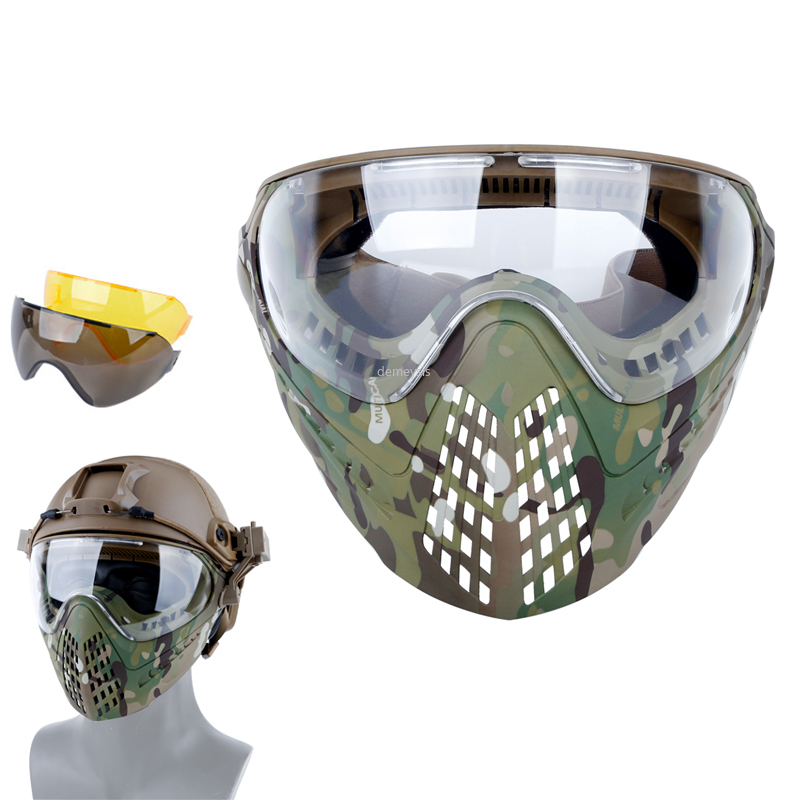 3 Lens Tactical Mask Protective Military Shooting Helmet Mask Full Face Outdoor Hunting Wargame CS Airsoft Paintball Masks