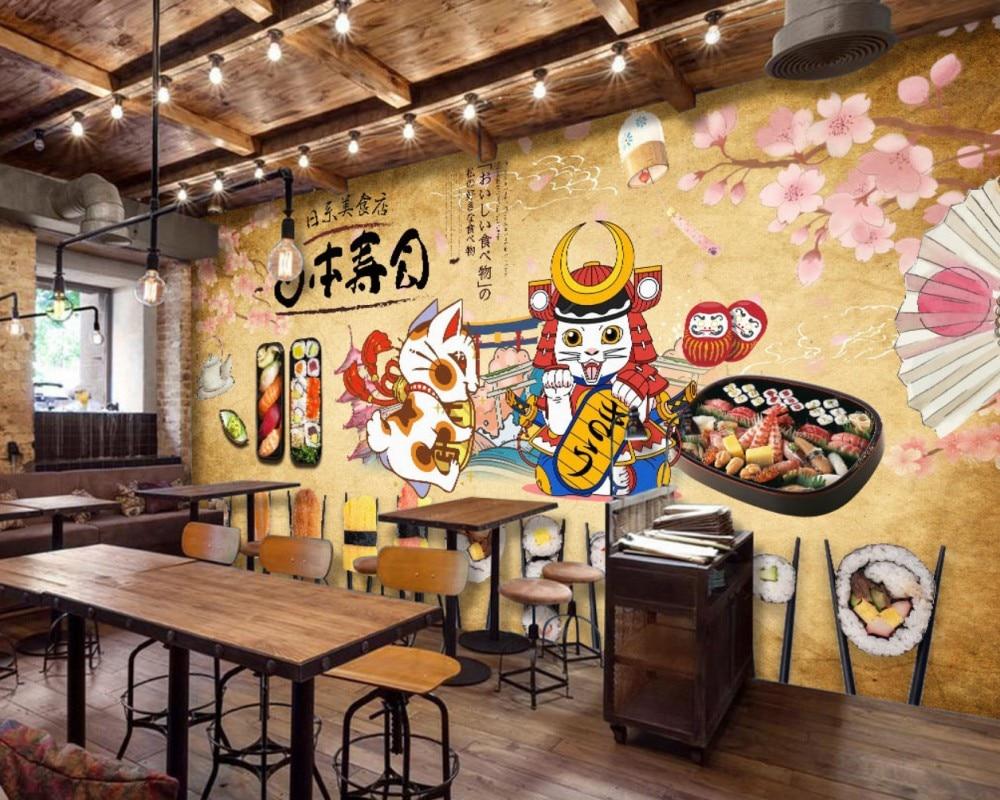 Japanese Sushi Restaurant Wallpaper Custom Food Restaurant 3D Mural Japanese Sushi Restaurant Lucky Cat Mural
