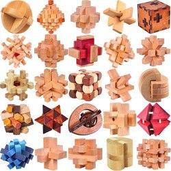 Clássico De Madeira IQ Enigma Mente Quebra-cabeças Burr Puzzles Jogo Brinquedos para Adultos Crianças