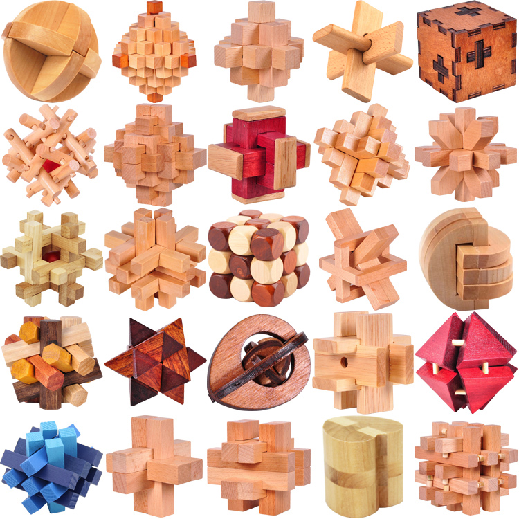 Classic IQ Wooden Puzzle Mind Brain Teasers Burr Puzzles Game font b Toys b font for