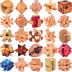Classic Wooden Puzzle Mind Brain Teasers Burr Interlocking Puzzles Game Toys for Adults Children