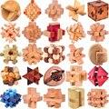 Rompecabezas de madera IQ clásico cerebro Teasers Burr puzles juguetes de juego para adultos niños