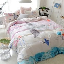 Cute character bed set teen child kid twin full queen cotton cartoon bird castle home textile