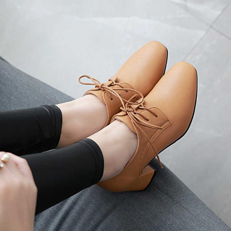 JK Büyük Boy Marka Yüksek Topuklu Kadın Moda Pompaları Kare ayak Toynak Topuklar Kapak Instep Ayakkabı 2018 Lace Up Bahar bayan Ayakkabıları