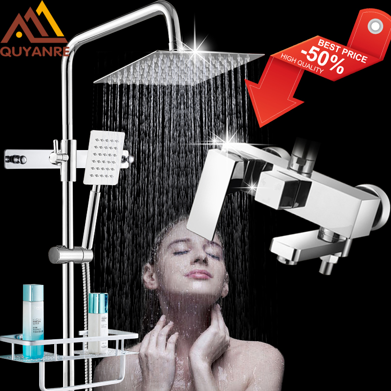 Quyanre Chrome Bathroom Shower Faucets Set Bathtub Shower Mixer Tap With Hook Commodity Shelf 3-way Mixer Shower Torneira Tap zebra print shower curtain 1pc with hook 12pcs