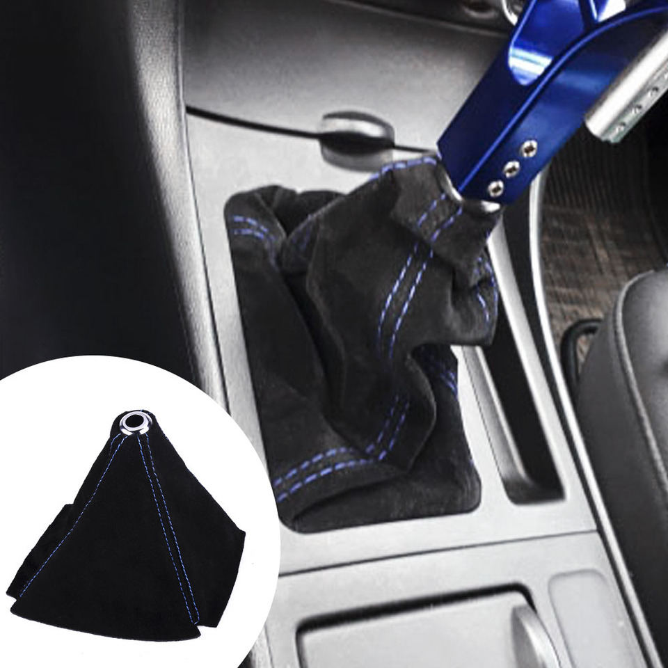 RASTP PU Leather Shift Boot Waterproof Shift Knob Dust Cove Universal for Manual//Auto with Red Stitching,Black