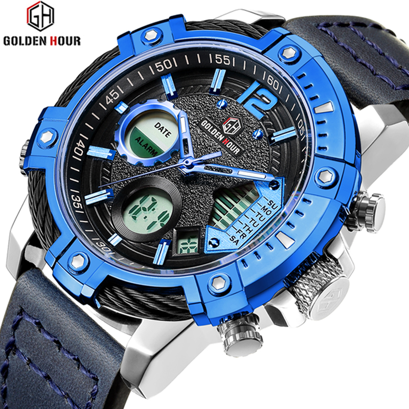 Men Watches Top Luxury Brand GOLDENHOUR Digital Quartz Clock Man Army Military Fashion Sport Wrist Watch Relogio Masculino geneva watches men 2017 binger fashion brand quartz clock army military sport watch digital wristwatches relogio masculino