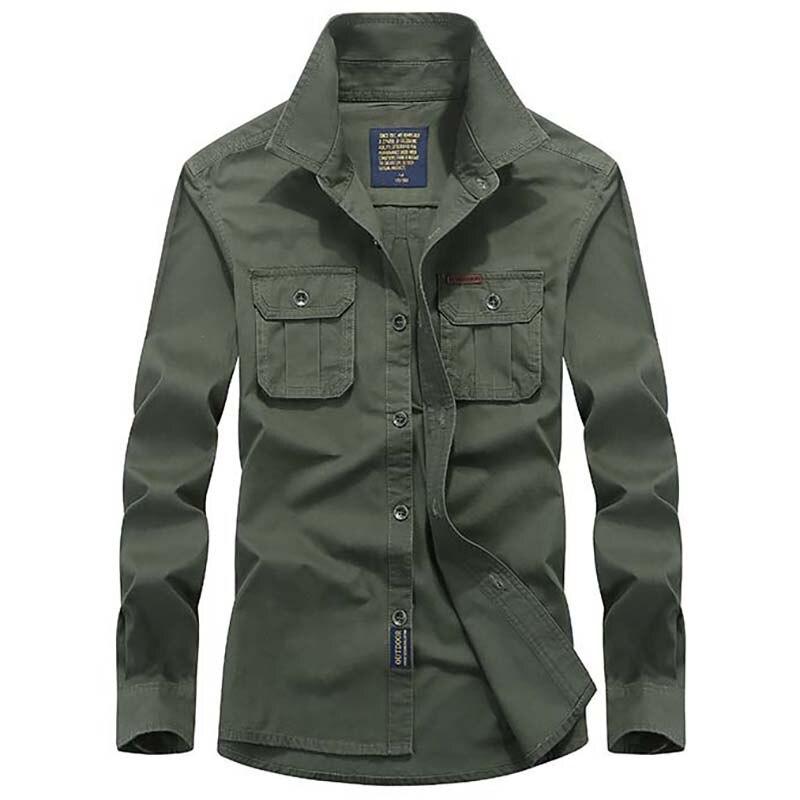 Nouveau Mode Hommes Smart Casual Coton Chemises Blusas Style Militaire Mens Chemises À Manches Longues Hommes Vêtements Plus La Taille M-4XL