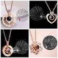 Дропшиппинг новое розовое золото 100 языков я люблю тебя проекция кулон ожерелье воспоминания о романтической любви свадебное ожерелье