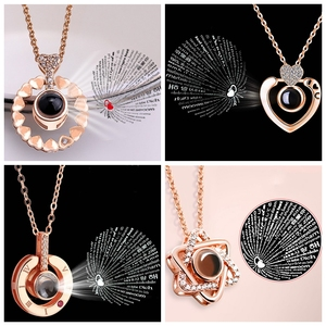 Dropshipping New Rose Gold 100 Languages I Love You Projection Pendant Necklace Romantic Love Memory Wedding Necklace(China)