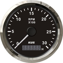 KUS Diesel Engine Tachometer Sensor RPM Gauge REV Counter 0 3000RPM with Digital Hourmeter Red Yellow Backlight Optional 12V 24V