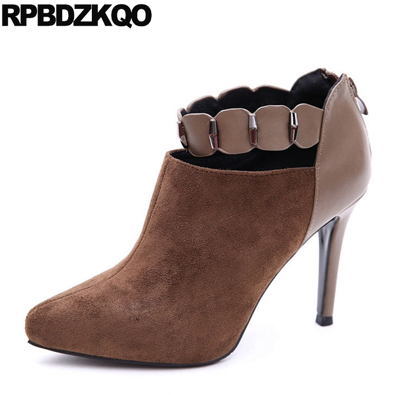 Fetish Brown Pointed Toe Fashion Suede Stiletto Ankle Short Designer Shoes Women Luxury 2017 Booties High Heel Boots Rivet fashion pointed toe and stiletto heel design ankle boots for women