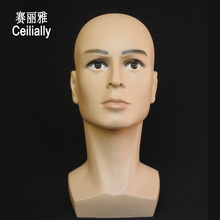 Free Ship 55cm Realistic Male Mannequin Plastic Men Mannequins Display Mannequin Dummy Head Model Wig Glasses Hat Display Stand