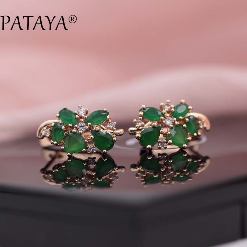 PATAYA Multi Colored Green Natural Zirconia Earrings 585 Rose Gold RU Hot Exclusive Design Jewelry Women