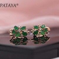 PATAYA Multi Colored Green Natural Zirconia Earrings 585 Rose Gold RU Hot Exclusive Design Jewelry Women