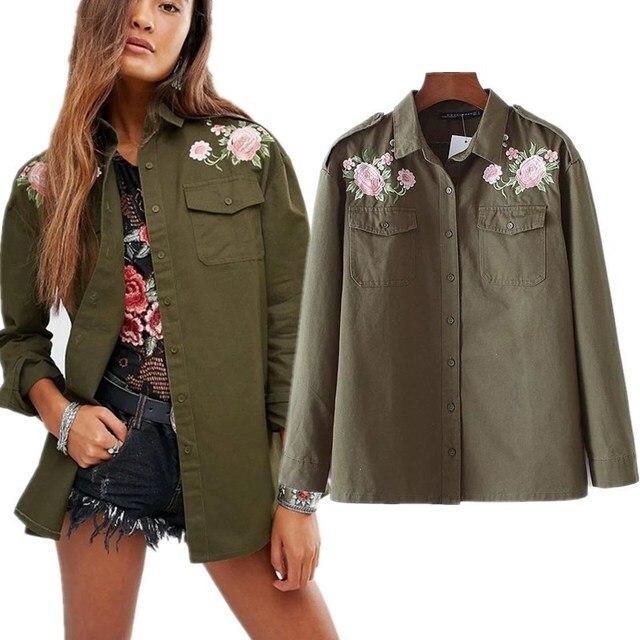 2017 г. женская брендовая одежда Длинные рукава Вышивка джинсовая рубашка Топы женские модные повседневные свободные джинсы Блузка Army green YD413
