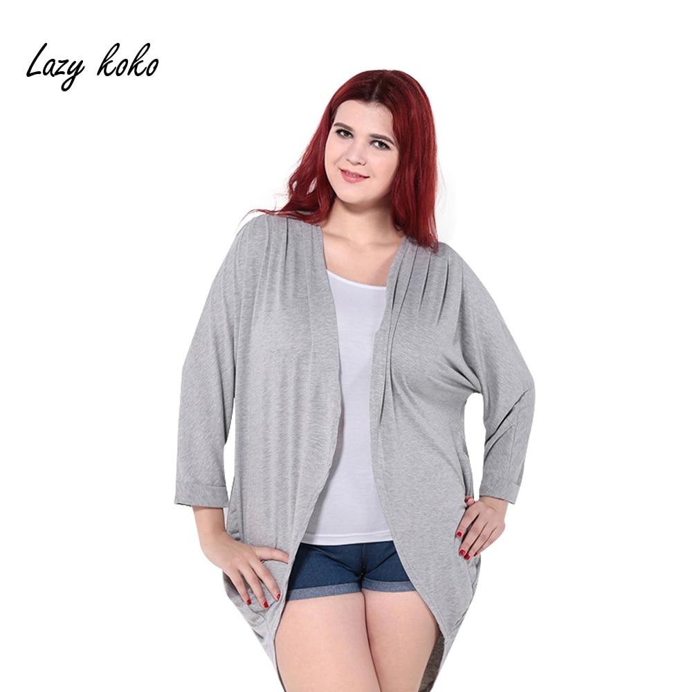 5082201c285e6b Lazy koko Plus Size Fashion Solid Open Front Cardigans Kimono Cover Ups  Women Coats Tops Lightweight Sweaters Big Size 3XL-6XL