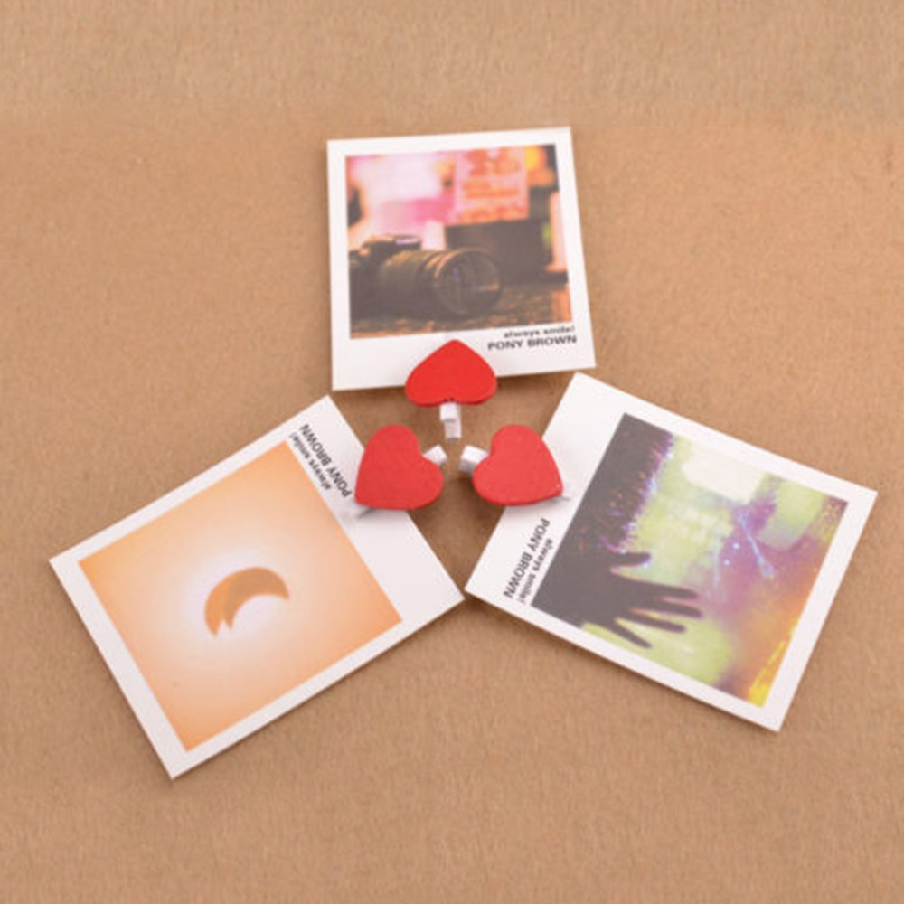 Office & School Supplies Hard-Working Peerless 10pcs Mini Sweet Love Heart Shape Wooden Clips Message Photo Holder Paper Office Binding Supplies