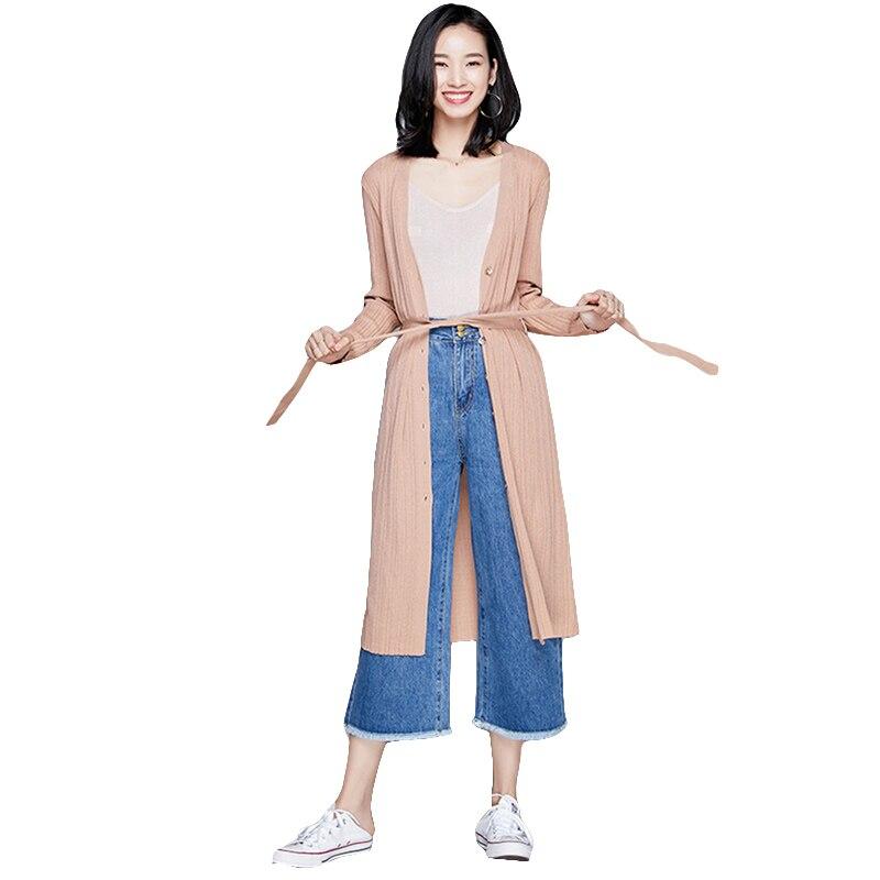 Spring 2018 Autumn New V-Neck Long Knitting Cardigan Casual Loose Sweater Women Oversized Cardigan Jacket Coat With Belt 4 Color