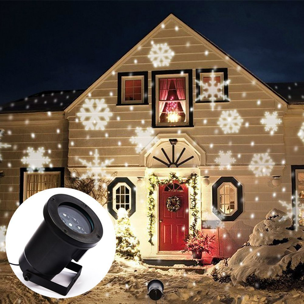 Laser Projector Waterproof Moving Patterns Effect Snow Snowflake Laser SpotLight Christmas New Year LED Stage Party Light Garden